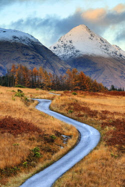 SCO34122AW Scotland, Highland, Glen Etive. The road through the Glen in autumn.