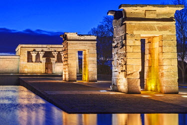 SPA7031 The reconstructed Egyptian Temple of Debod at twilight, located in the Parque del Oeste, near the Royal Palace of Madrid, Madrid, Comunidad de Madrid, Spain.