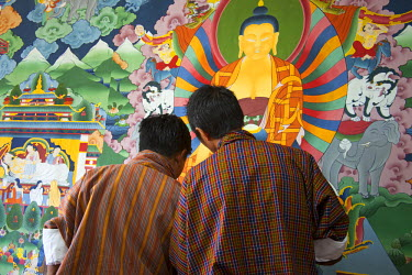 AS04KWI0078 Asia, Bhutan, Thimpu. Students of Thangka painting at the Institute of Zorig Chusum.