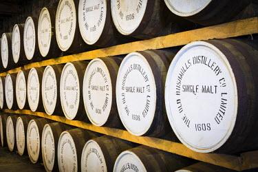 NIR8855AW United Kingdom, Northern Ireland, County Antrim, Bushmills. Whisky Barrels in The Old Bushmills Distillery, the oldest working distillery in Ireland.