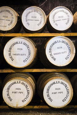 NIR8856AW United Kingdom, Northern Ireland, County Antrim, Bushmills. Whisky Barrels in The Old Bushmills Distillery, the oldest working distillery in Ireland.