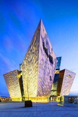 NIR8870AW United Kingdom, Northern Ireland, County Antrim, Belfast. Located on Queen's Island in the Titanic Quarter, Titanic Belfast stands on the site of the former Harland & Wolff shipyard where the RMS Tita...