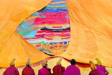 HMS0909650 China, Gansu Province, Amdo, Xiahe, Monastery of Labrang (Labuleng Si), Losar (New Year festival), Furling of the giant Thangka