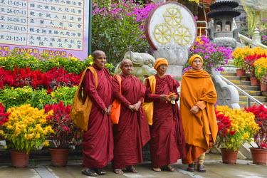 HMS1826725 China, Hong Kong, Lantau Island, Monastery of Po Lin, group of women monks in pilgrimage posing for a photo