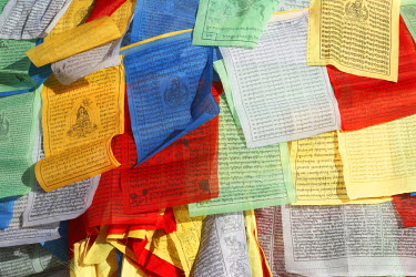 HMS1918167 China, Tibet, Lhasa, prayer flags on the Barkhor Kora around Jokhang temple