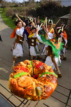 POR8812AW A Portuguese king cake is a type of cake associated with the Christmas season. Traditional Winter festivities in Constantim. Tras-os-Montes, Portugal