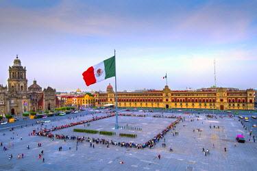 MX03536 Mexico, Mexico City, Zocalo, Main Square, Lowering Of The Mexican Flag, National Palace, Palacio Nacional, Cathedral, Mexican Army, Centro Historico