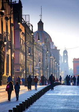 MX03542 Mexico, Mexico City, Emiliano Zapata Street, Pedestrian Way, Early Morning, Centro Historico