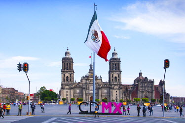 MX03572 Mexico, Mexico City, Metropolitan Cathedral, Zocalo, Main Plaza, Mexican Flag, CDMX Letters, City of Mexico, Centro Historico