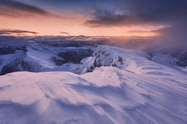 CLKMG41787 Europe, Italy, Belluno, Cortina d' Ampezzo, Dolomites. Winter sunset from Piccolo Lagazuoi