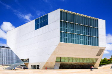 Portugal, Douro Litoral, Porto. The exterior of Casa Da Musica, Porto's major concert hall designed by Rem Koolhaas and opened in 2005.