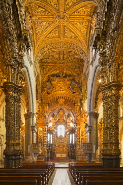 POR8909AW Portugal, Douro Litoral, Porto. The stunning Baroque gilt wood carvings of Igreja de S�o Francisco are considered some of the most outstanding in Portugal.