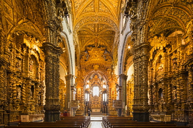 POR8910AW Portugal, Douro Litoral, Porto. The stunning Baroque gilt wood carvings of Igreja de S�o Francisco are considered some of the most outstanding in Portugal.