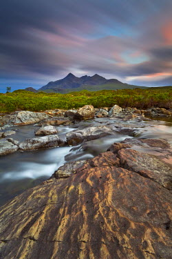 CLKMR210 Isle of Skye,Scotland. The peaks of the Black Cuillin at sunset.