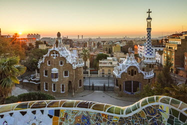 CLKFV38954 Park Guell with city skyline behind at sunrise, Barcelona, Catalonia, Spain