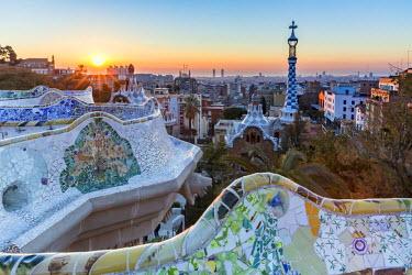 CLKFV39002 Park Guell with city skyline behind at sunrise, Barcelona, Catalonia, Spain