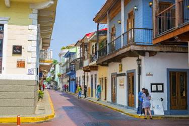 PAN0086 Panama, Panama City.  An attractive street in Casco Antiguo, the old quarter of Panama City.