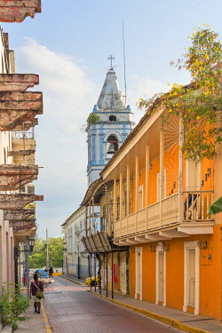 PAN0093 Panama, Panama City.  An attractive street in Casco Antiguo, the old quarter of Panama City.