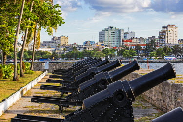 CUB1453 Cuba, Havana, Parque Historico Militar Morro-Cabana. Rows of old canons on the battlements of two forts guarded HabanaVieja from attack between the 16th and 19th centuries.