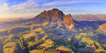 SA01219 South Africa, Western Cape, Stellenbosch, Aerial view of Simonsberg Mountain range and Stellenbosch Winelands