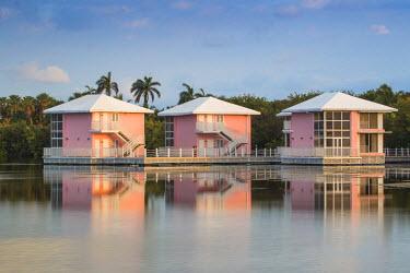 CB02591 Cuba, Ciego de Avila province, Jardines del Rey, Cayo Coco, Las Coloradas Beach, Lagoon bungalows built on stilts at the Melia Hotel