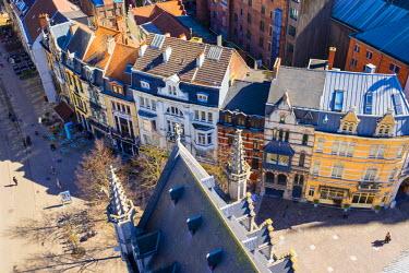 BEL1302AW Belgium, Flanders, Ghent (Gent). Buildings in old town, view from Het Belfort van Gent, 14th century belfry.