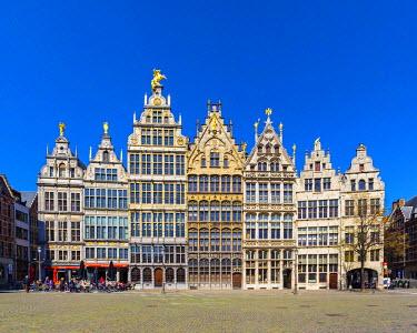 BEL1367AWRF Belgium, Flanders, Antwerp (Antwerpen). Medieval guild houses on Grote Markt.
