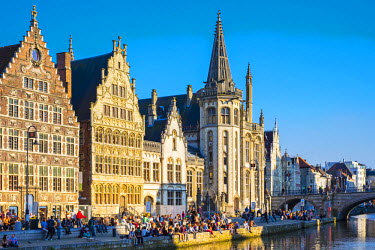 BEL1380AWRF Belgium, Flanders, Ghent (Gent). Medieval guild houses on Graslei and the Leie River.