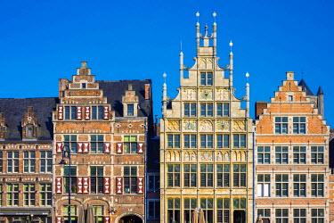 BEL1381AWRF Belgium, Flanders, Ghent (Gent). Medieval guild houses on Graslei.