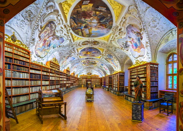 CZE1548AW Czech Republic, Prague. The Strahov Monastery library, built in 1794. The Strahov Library contains over 200,000 volumes and features ceiling frescoes by Siard Noseck� and Anton Maulbertsch.