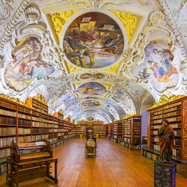 CZE1549AW Czech Republic, Prague. The Strahov Monastery library, built in 1794. The Strahov Library contains over 200,000 volumes and features ceiling frescoes by Siard Noseck� and Anton Maulbertsch.
