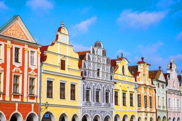 CZE1557AW Czech Republic, Vysocina Region, Telc. Facades of Renaissance and Baroque houses on Namesti Zachariase z Hradce.