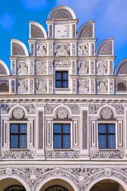 CZE1559AW Czech Republic, Vysocina Region, Telc. Facades of Renaissance and Baroque houses on Namesti Zachariase z Hradce.