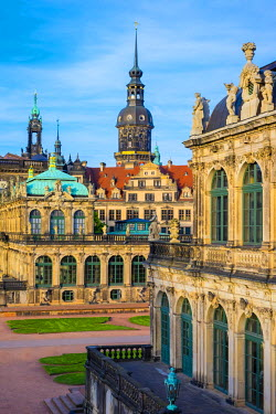 GER9200AW Germany, Saxony, Dresden, Altstadt (Old Town). Zwinger Palace, built in Rococo style and designed by court architect Matth�us Daniel P�ppelmann.