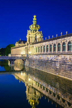 GER9209AW Germany, Saxony, Dresden, Altstadt (Old Town). Zwinger Palace at night, built in Rococo style and designed by court architect Matth�us Daniel P�ppelmann.