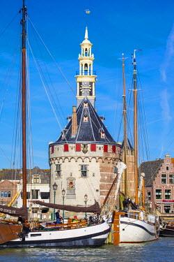 NLD0167AW Netherlands, North Holland, Hoorn. The Hoofdtoren tower on the Binnenhaven harbor, built in 1532.