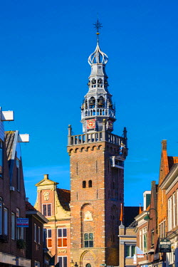 NLD0185AW Netherlands, North Holland, Monnickendam. 15th century Speeltoren carillon tower of the Stadhuis city hall.