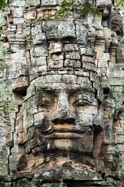 CMB1531AW Asia, Cambodia, Siem Reap, Angkor Thom; Buddha face on the west gate