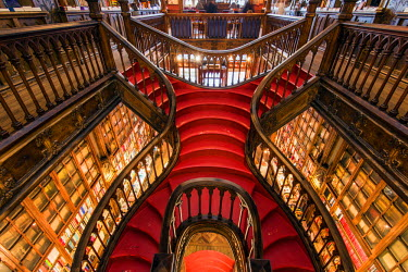 POR9008AW Livraria Lello & Irmao bookstore or Lello bookstore is one of the oldest in Portugal and is rated among the top bookstores in the world, Porto, Portugal