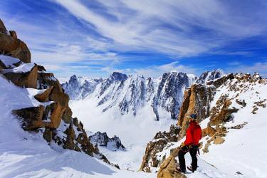 FRA9303 Europe, France, Haute Savoie, Rhone Alps, Chamonix, climber on  Aiguille de Argentiere (MR)