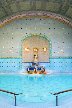 HUN1449AW Hungary, Central Hungary, Budapest. Completed in 1918, Gellert Thermal Baths consists of a series of pools containing water from Gellert Hill's mineral-rich hot springs.
