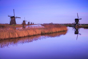 NL02276 Netherlands, Kinderdijk, Traditional Dutch windmills, dusk