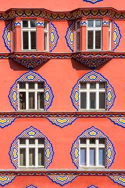 SLO1157AW Ljubljana, Slovenia, East Europe. Facade of Cooperative Bank (Zadruzna gospodarska banka) designed by architect Ivan Vurnik.