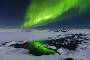 ICE3748 The Aurora Borealis (Northern Lights), Lake Kleifarvatn near Reykjavik
