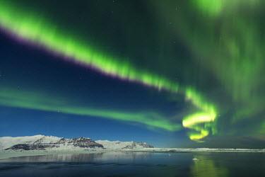 ICE3836 Aurora Borealis, Jokulsarlon Glacial Lagoon, South Iceland