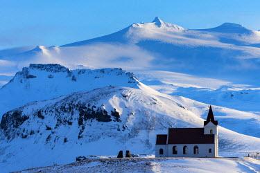 ICE3850 Ingjaldsholl, Traditional Lutheran church, Hellissandur, Snaefellsnes Peninsula, West Iceland