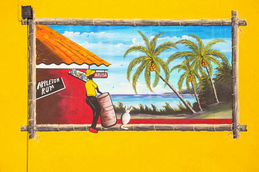 AA01094 Caribbean, Netherland Antilles, Aruba, Oranjestad, Wall painting on side of Que Pasa restaurant