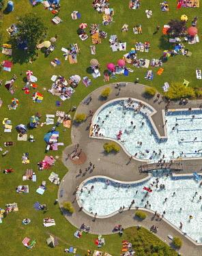 IBLBLO00965359 Aerial view of outdoor pool, Suedpol outdoors swimming pool, Herne, Ruhr area, North Rhine-Westphalia, Germany