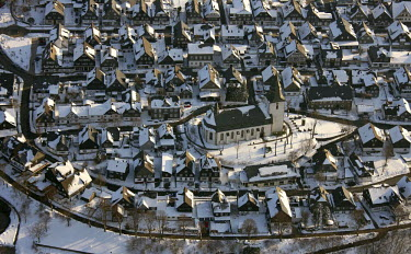 IBLBLO00970880 Aerial view of church, Winterberg, Sauerland, North Rhine-Westphalia, Germany