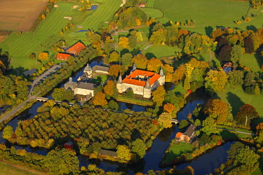 IBLBLO01009653 Aerial view of Westerwinkel moated castle, golf club, Muensterland, Nordrhein-Westfalen, Germany